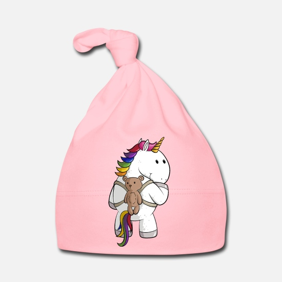 Bear Baby Clothes - Cartoon unicorn with backpack - Baby Cap light pink