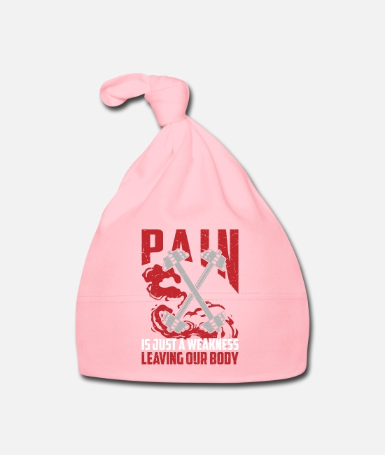 Weightlifter Baby Caps - Pain is just a weakness affecting our bodies - Baby Cap light pink
