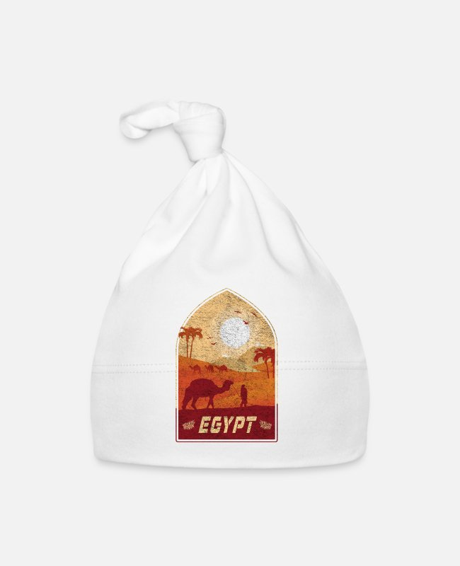Middle East Baby Caps - Egypt vintage design with camel and desert - Baby Cap white