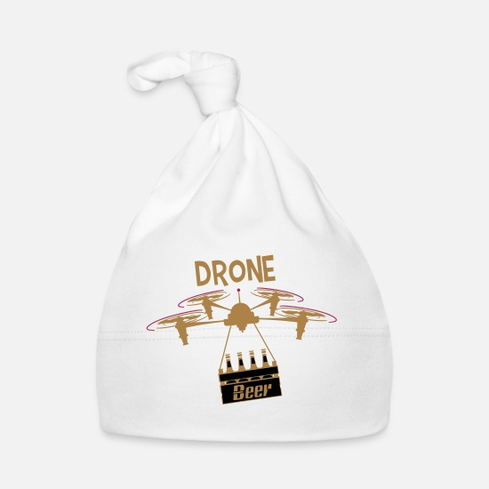 Alcohol Baby Clothes - DRONE Beer Delivery - Baby Cap white