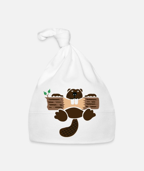 School Baby Caps - beaver eager rodent otter wood forest teeth tree - Baby Cap white