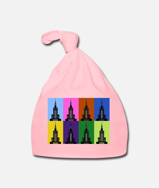 Warsaw Baby Clothes - Palace of Culture and Science in Warsaw - Baby Cap light pink