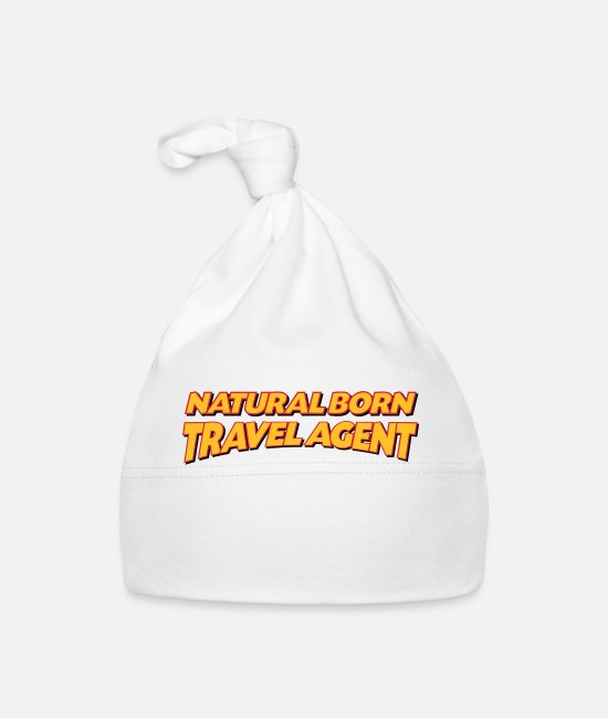 Agent Baby Caps - Natural born travel agent 3col - Baby Cap white