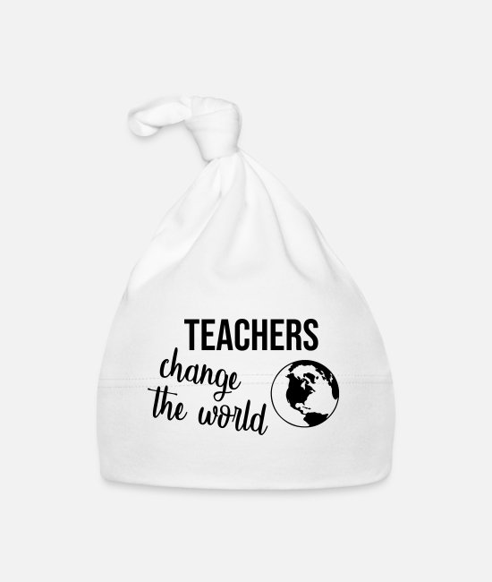 Statement Baby Mützen - Teachers change the World - Babymütze Weiß