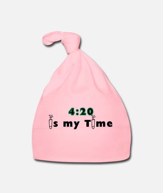 Cannabis Baby Caps - 420 is my time grass cannabis gift idea - Baby Cap light pink