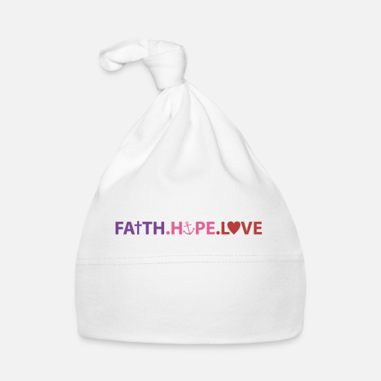 Love Babykleidung - Faith Hope Love - Babymütze Weiß