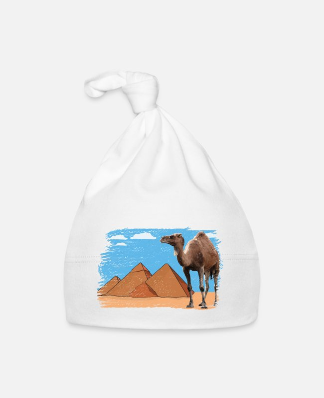 Tourism Baby Caps - Camel in front of pyramids - Baby Cap white