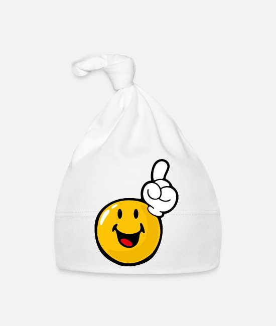 Emoticon Baby Caps - Smiley Eager - Baby Cap white