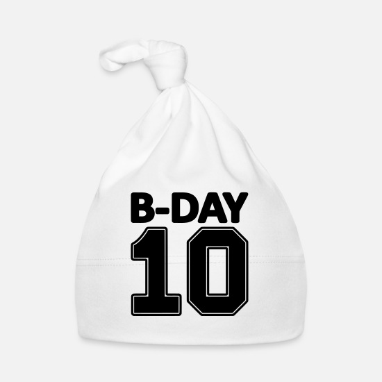 Number Baby Clothes - 10th Birthday Bday 10 Number Numbers Number - Baby Cap white
