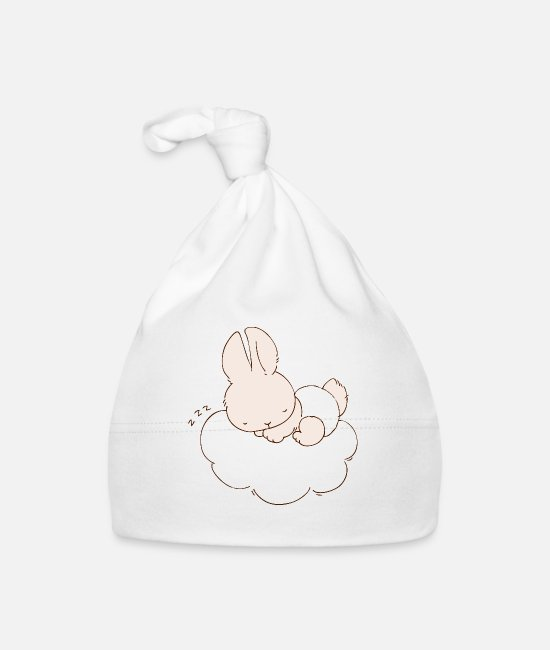 Weather Baby Caps - Baby Bunny sleeping on cloud - Baby Cap white