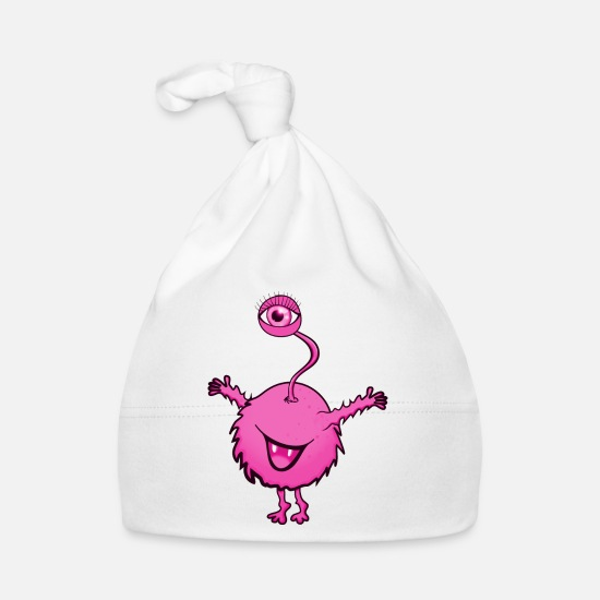 Free Hugs Baby Clothes - Monster Pink with one eye - Baby Cap white