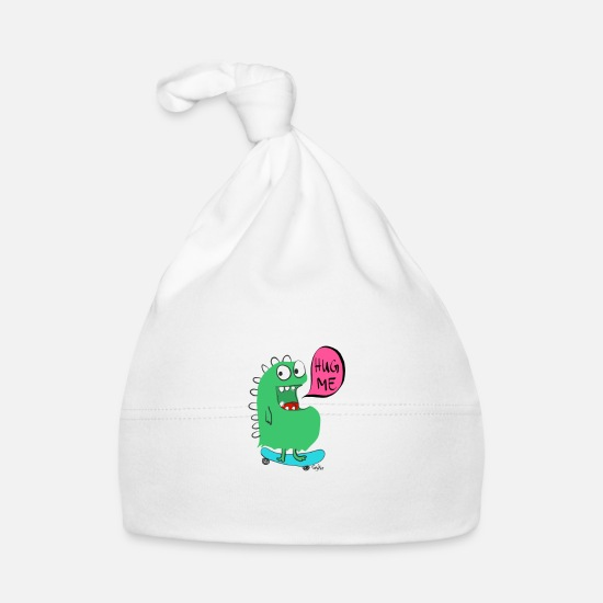 Funky Baby Clothes - skateboard Monster - Baby Cap white