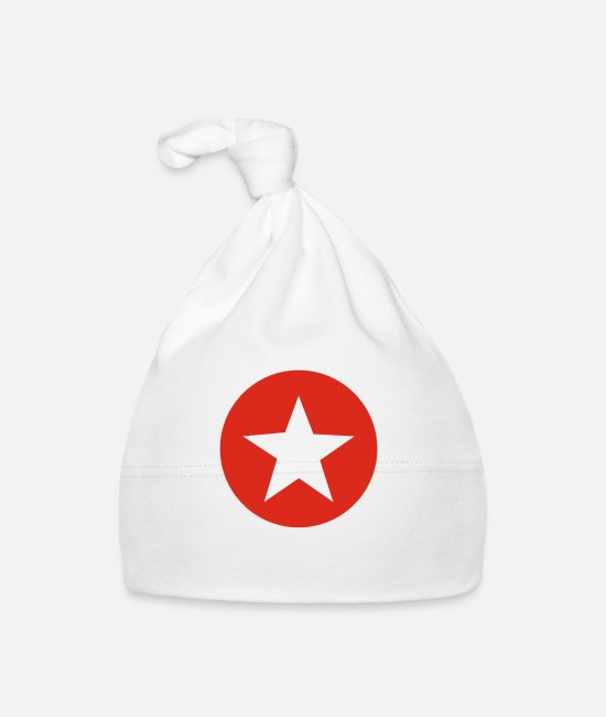Red Baby Caps - Star - Baby Cap white