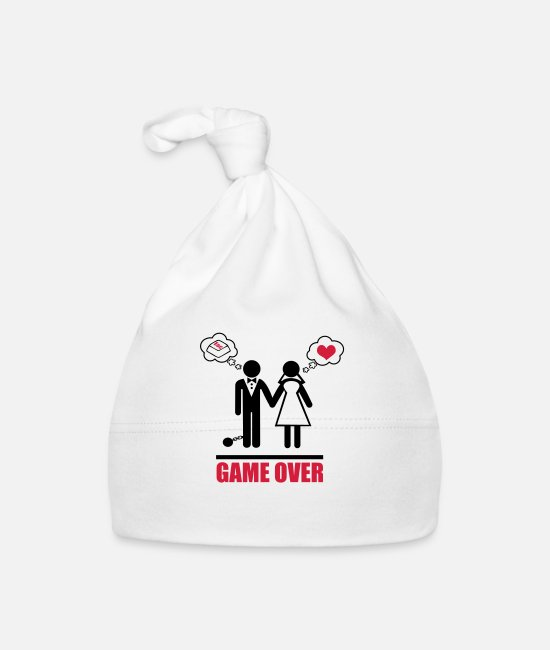Wedding Baby Caps - Game over stag do hen party night bachelor - Baby Cap white