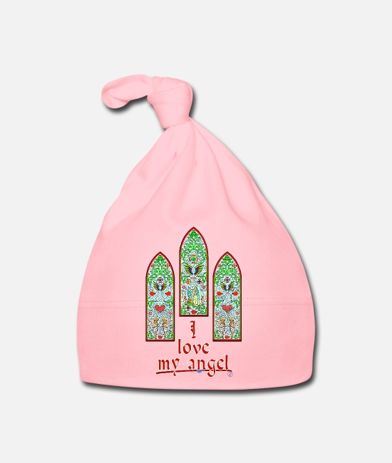 Stained Glass Windows Baby Caps - I love my angel - By FEDVAL - Baby Cap light pink