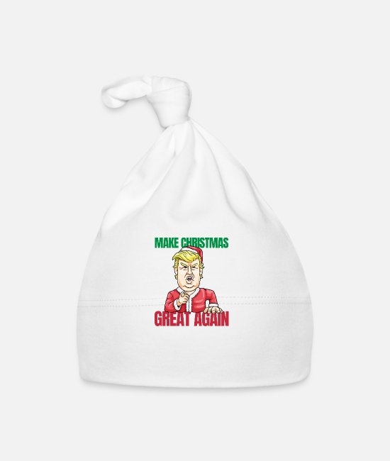 President Baby Caps - Trump Make Christmas Great Again Ugly Xmas - Baby Cap white