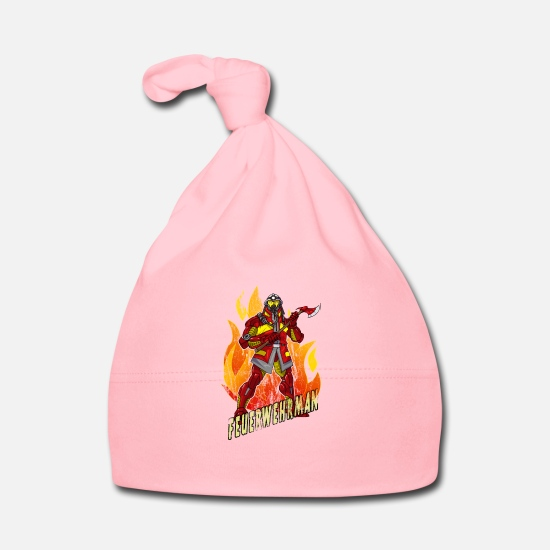 Gift Idea Baby Clothes - Firefighter superhero - Baby Cap light pink