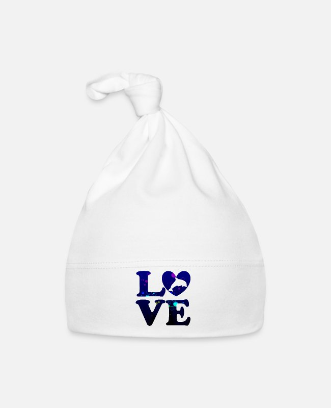 Wedding Day Baby Caps - LOVE dolphin gift idea - Baby Cap white