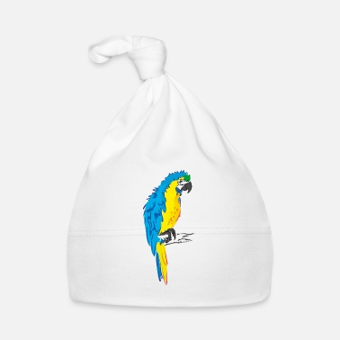 Yellow Macaw parrot yellow, blue drawing - Baby Cap