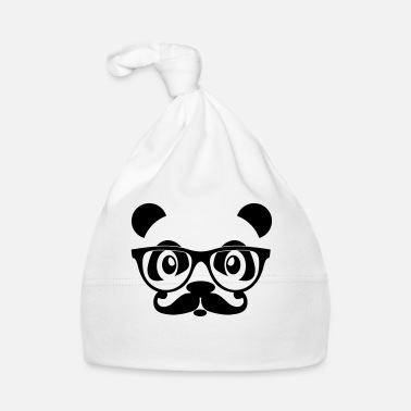 Internet nerd panda with moustache and glasses - Gorro bebé