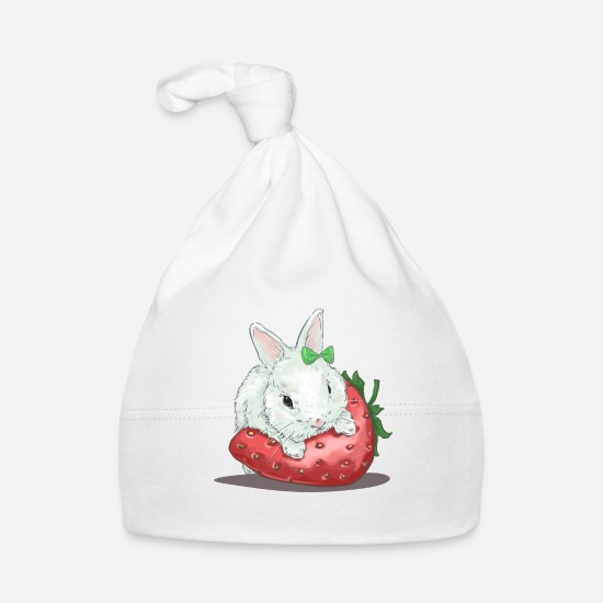 Gift Idea Baby Clothes - Sweet hare on strawberry - Baby Cap white