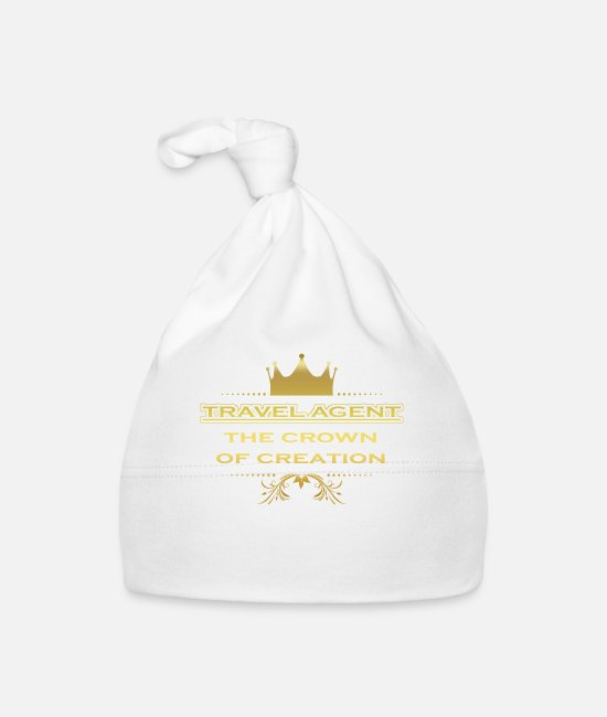 Travel Bug Baby Caps - CRONE KING CREATION MASTER GIFT TRAVEL AGENT - Baby Cap white