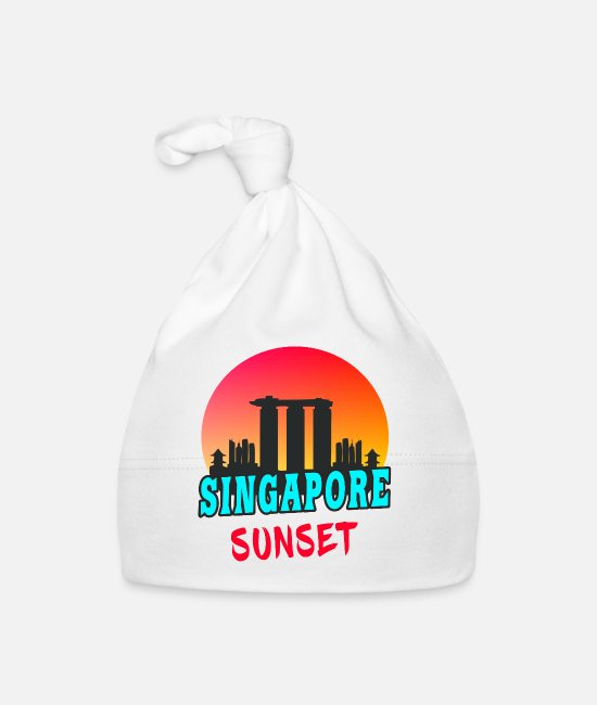 Building Baby Caps - Singapore sunset Asia gift metropolis - Baby Cap white