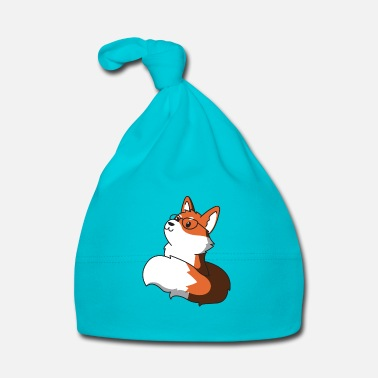 Clever Sly fox with glasses gift idea nerd idea - Baby Cap