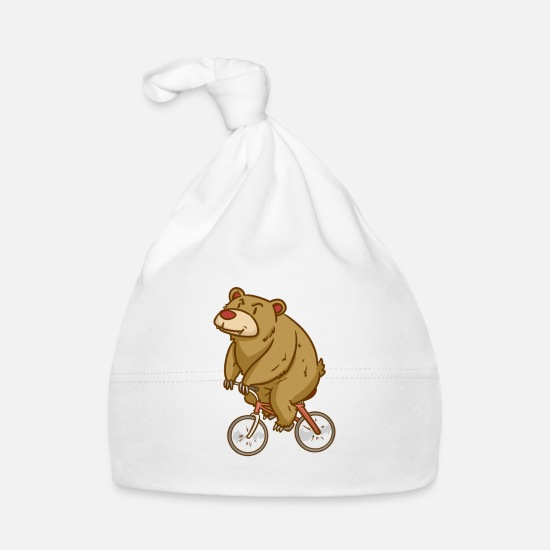 Sports Baby Clothes - Bear - Biking - Sports - Gift - Baby Cap white