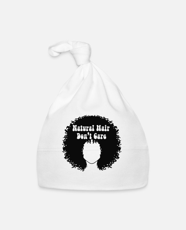 Proud Baby Caps - Natural Hair Don't Care | Normalize Natural Black - Baby Cap white