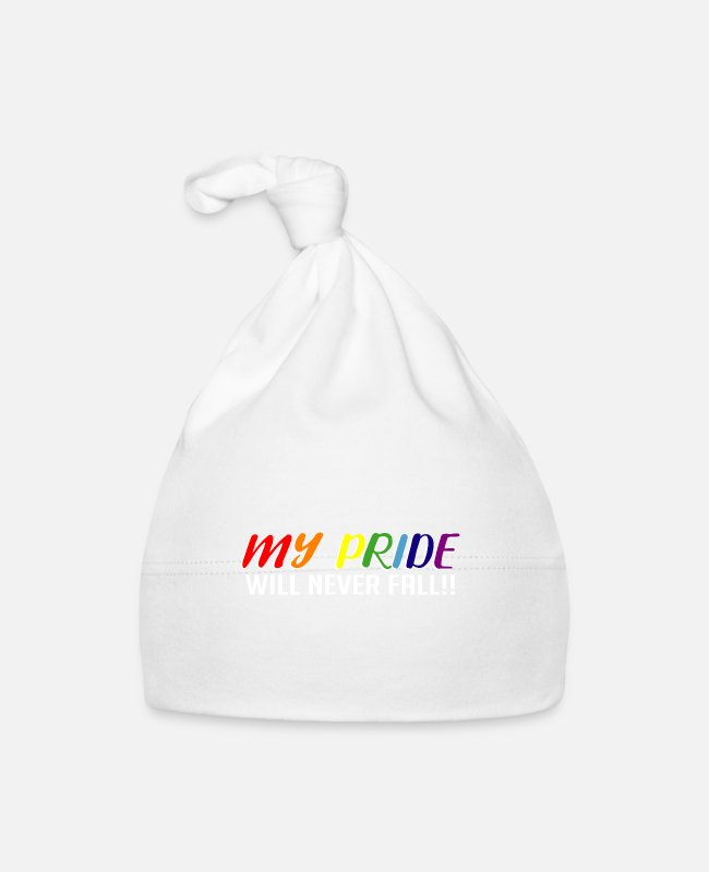 Proud Baby Caps - My Pride Will Never Fall Gay or Lesbian - Baby Cap white