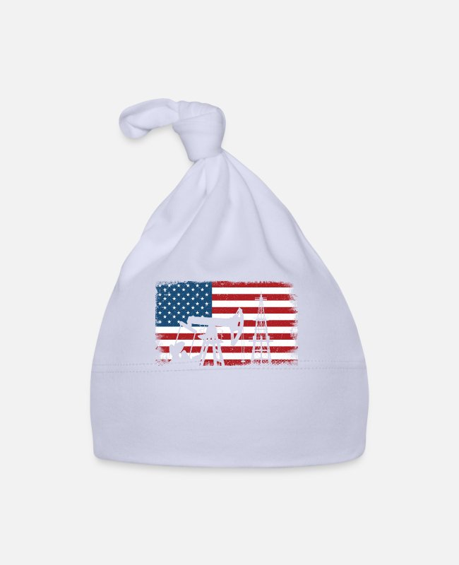 Grandpa Baby Caps - American flag oilfield roughneck - oil rig worker - Baby Cap sky