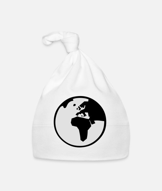 Space Baby Caps - World Globe - Baby Cap white