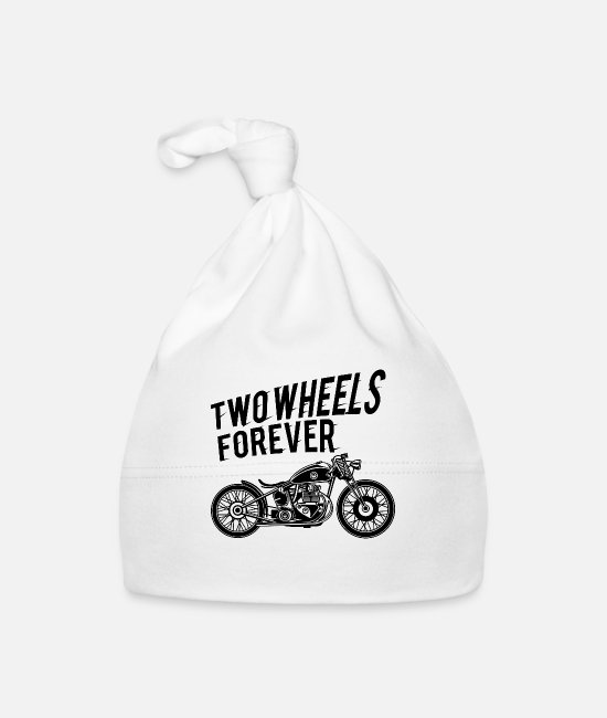 Biker Baby Caps - Two Wheels forever! - Baby Cap white