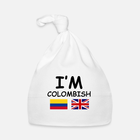 English Baby Clothes - Colombian & English = Colombish - Baby Cap white