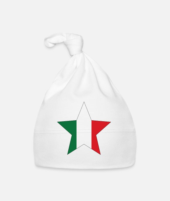 Italian Flag Baby Caps - Italy flag star with black frame - Baby Cap white