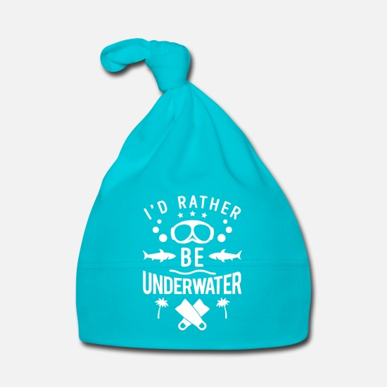 Gift Babykleidung - I'd rather be underwater - scuba diving - Babymütze Türkis