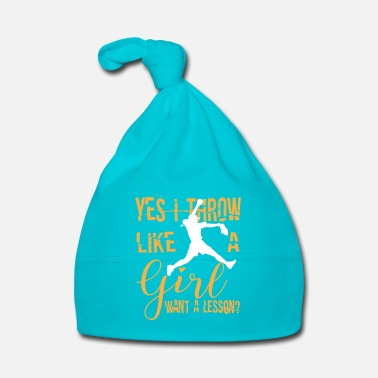 Softball Throw like a girl want a lesson? Baseball design - Bonnet Bébé