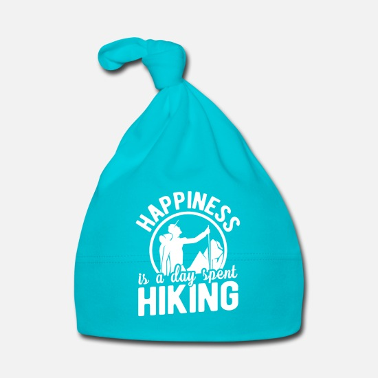 Sexy Baby Clothes - Happiness is a day spent hiking - Baby Cap turquois