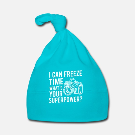 Modell Bebiskläder - I can freeze time what's your superpower? - Babymössa turkos