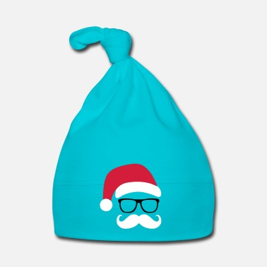 Santa Funny Santa Claus with nerd glasses and mustache - Gorro bebé