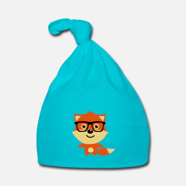 Glass Cute & Funny Hipster Baby fox with nerd glasses - Babymössa