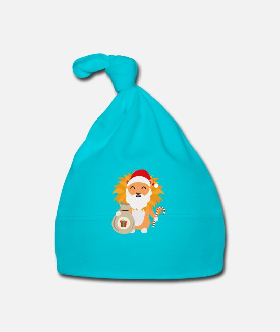 Nature Baby Caps - Santa Lion with Present - Baby Cap turquois