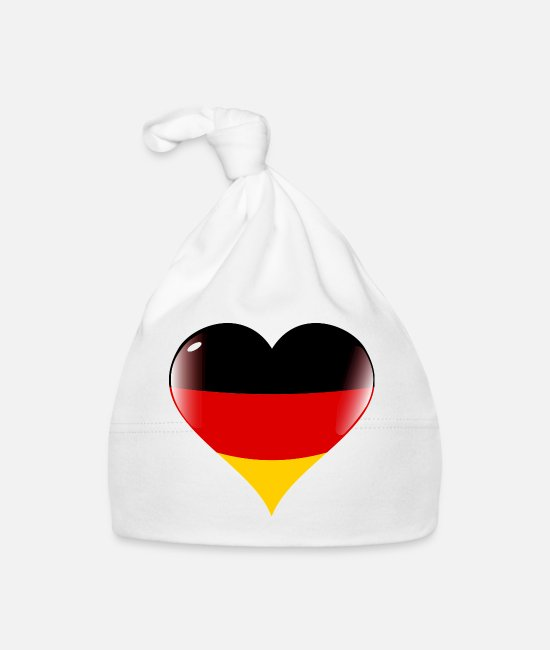 Heart Baby Caps - Germany heart flag - Baby Cap white
