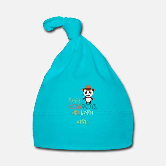 Adult Baby Clothes - Real Cowboys are born in April S2n9h - Baby Cap turquois