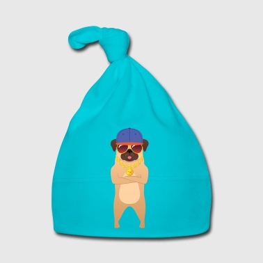 Hip-hop Cool Hip Hop Pug With Sunglasses And Gold Chain - Bonnet Bébé