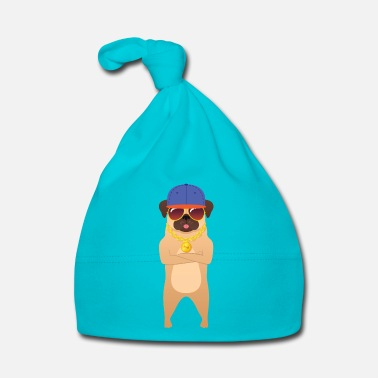 Hassu Cool Hip Hop Pug With Sunglasses And Gold Chain - Vauvan myssy