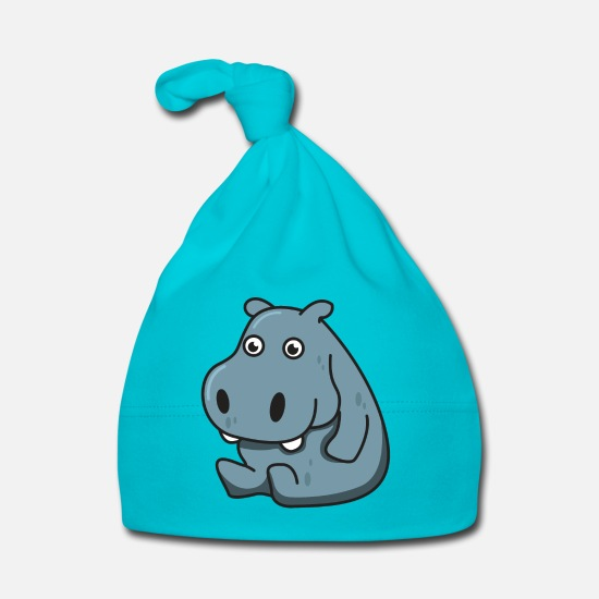 Gift Idea Baby Clothes - Hippopotamus gift Hippo animal comic cute child - Baby Cap turquois