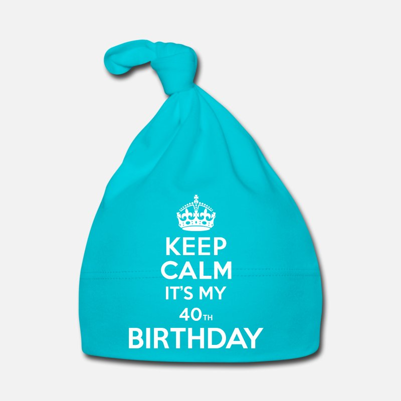 40th Baby Clothing - Keep calm - 40 - birthday - Baby Cap turquois