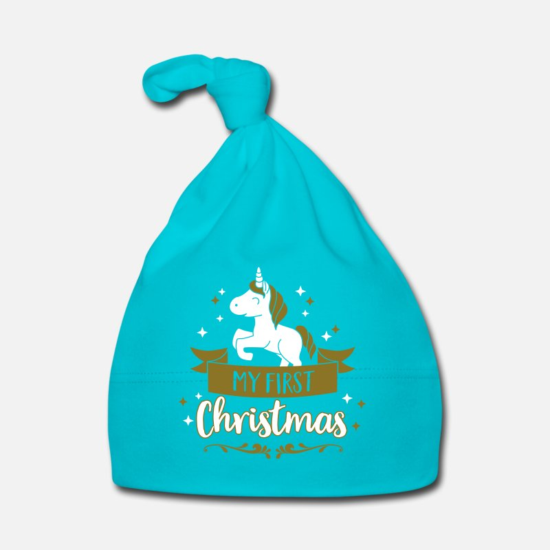 Kerstboom  Babykleding - My first Christmas - Baby - Weihnachten - Xmas - Baby muts turquoise